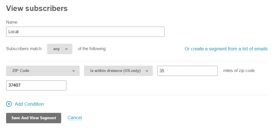 Create a local segment in MailChimp