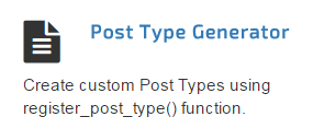 Generate WP Custom Post Type Generator