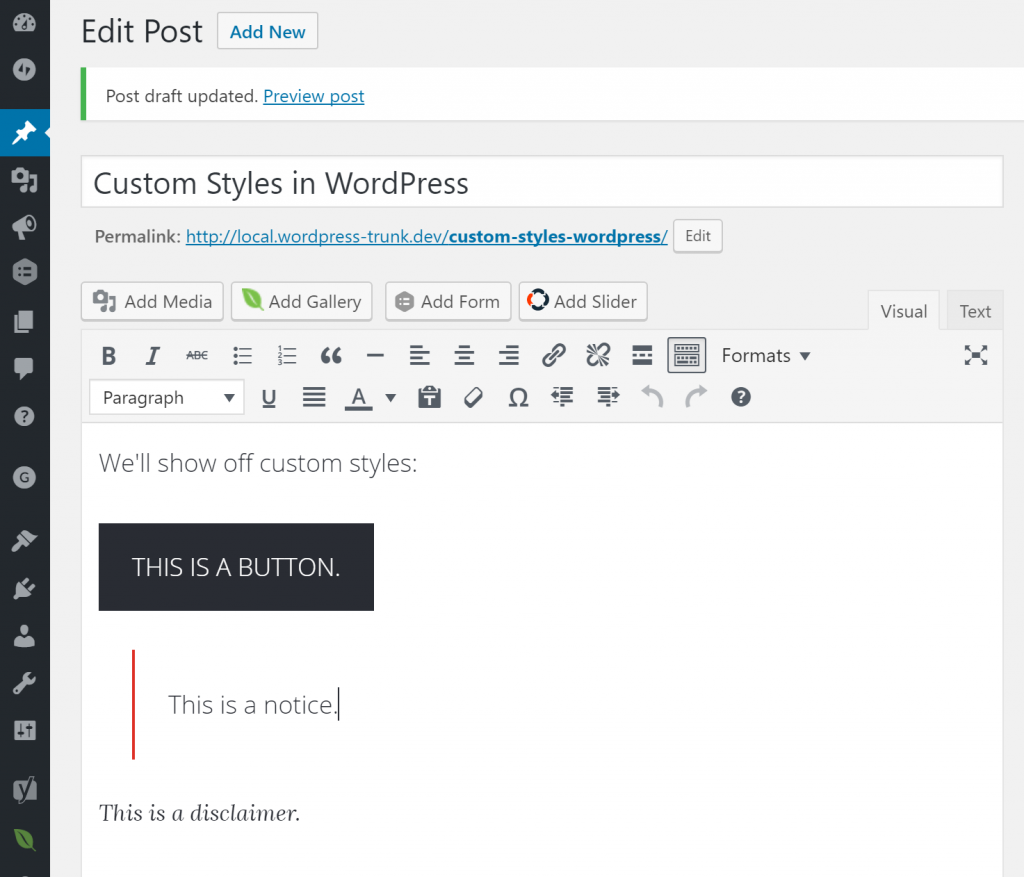 WordPress TinyMCE Editor Custom Styles in Action