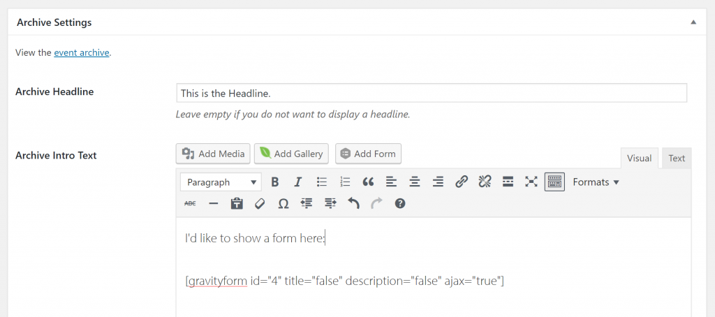 Add a Gravity Forms Button to Archive Editors