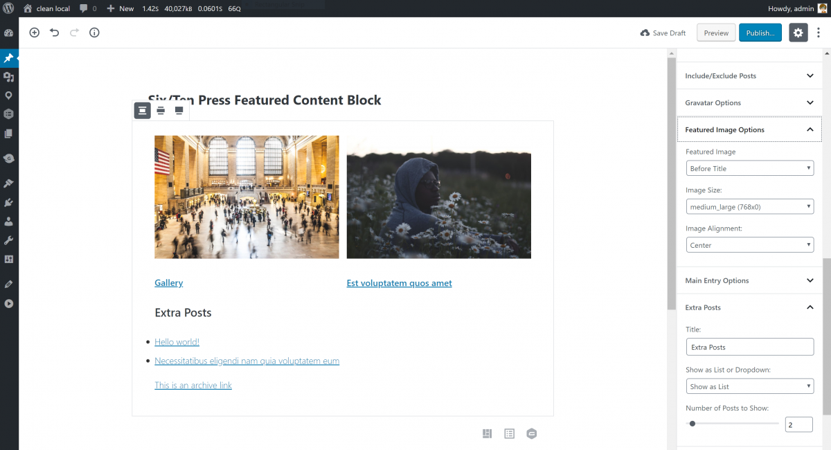 Featured Content Block in the Gutenberg editor